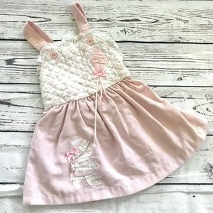 Vintage 1980's pink & white kite smock bib dress